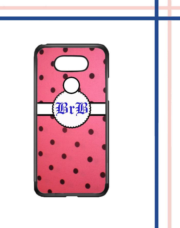 Casing gambar motif HARDCASE untuk hp LG G5 SE polkadot pinky nama inisial sendiri T0132