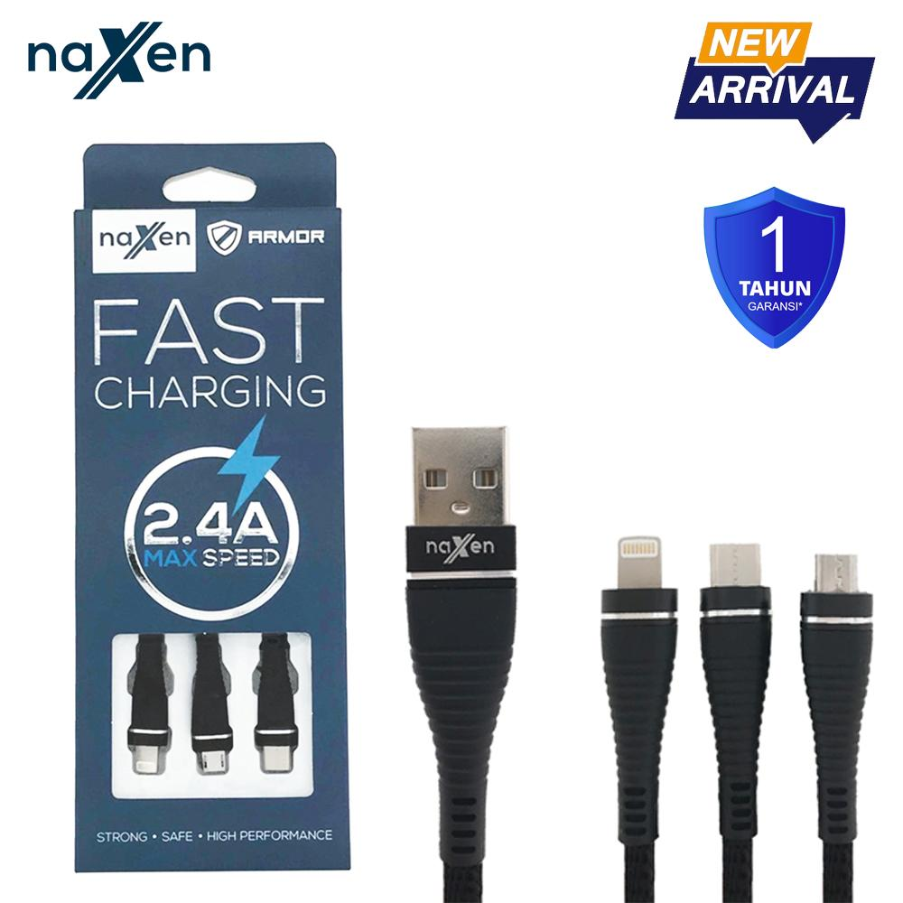 Naxen Kabel Data Charger Micro USB Iphone Type C Armor Support Fast Charging 2.4A For Smartphone Android & Iphone Phone Garansi 1 Tahun