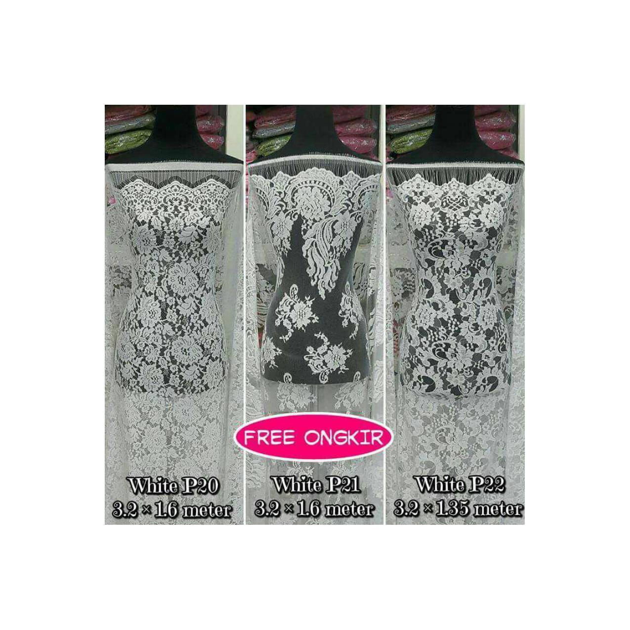 Brokat Bahan Kain Kebaya Dress Baju Muslim Gamis Couple White Series