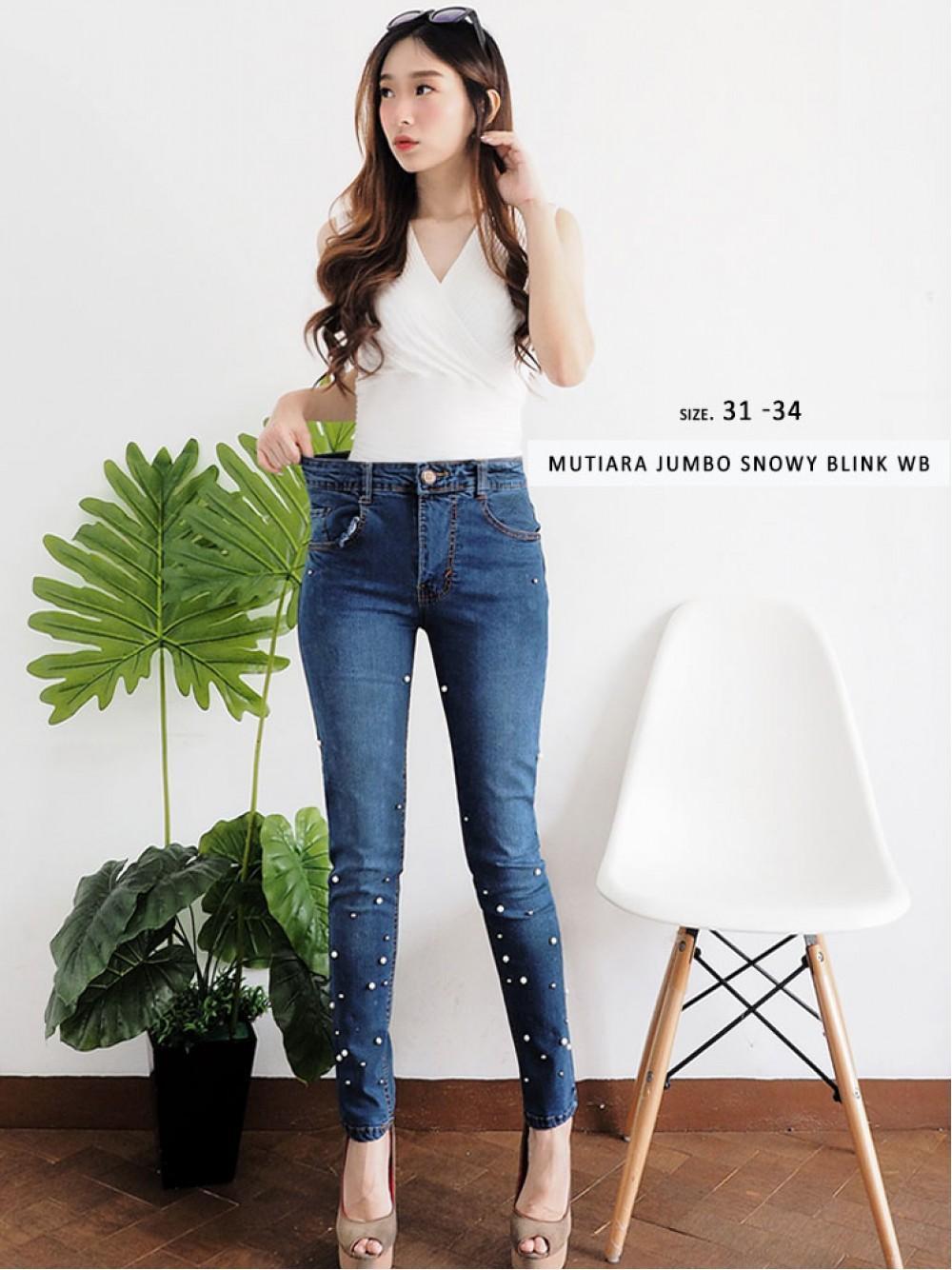 BEST SELLER - Celana Jeans Mutiara - Jeans size jumbo - Bigsize Jeans - Mutiara Snowy