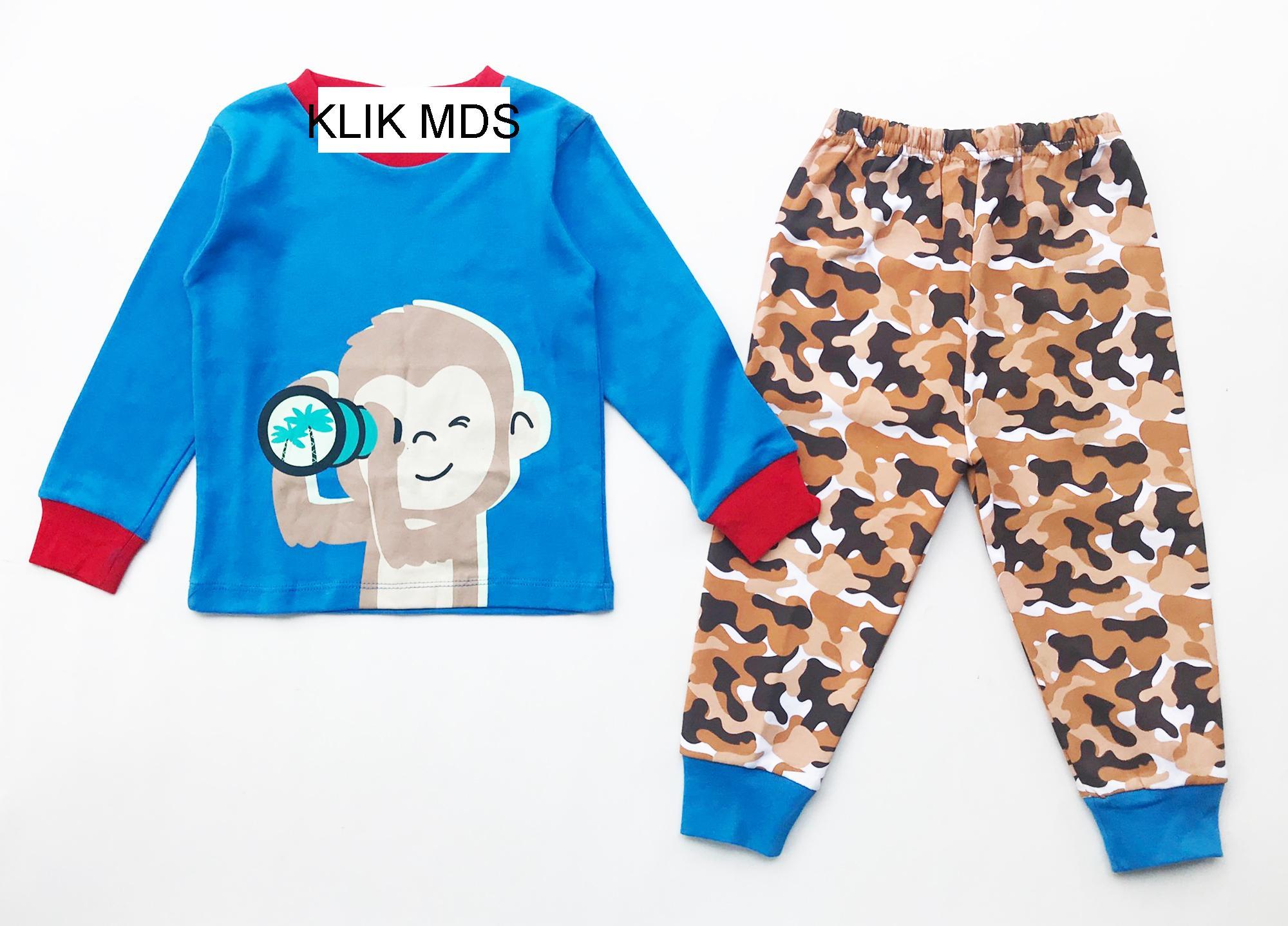 Klik Mds Baju Tidur Anak Laki-Laki Motif Monyet Teropong Tangan Panjang Celana Panjang By Klik Mds.