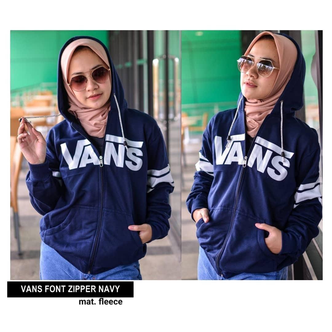 VANS FONT ZIPPER ||| nouska shop ||| Grosir Sweater Jaket Baju Kaos Distro Lengan Panjang Pria Kekinian Wanita Murah