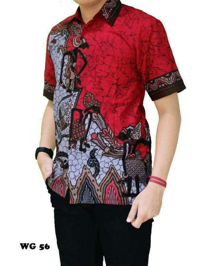Jual Baju Batik Pria Baju Batik Modern Kemeja Batik Pekalongan Hem Batik Kemeja Motif Pandawa - MERAH