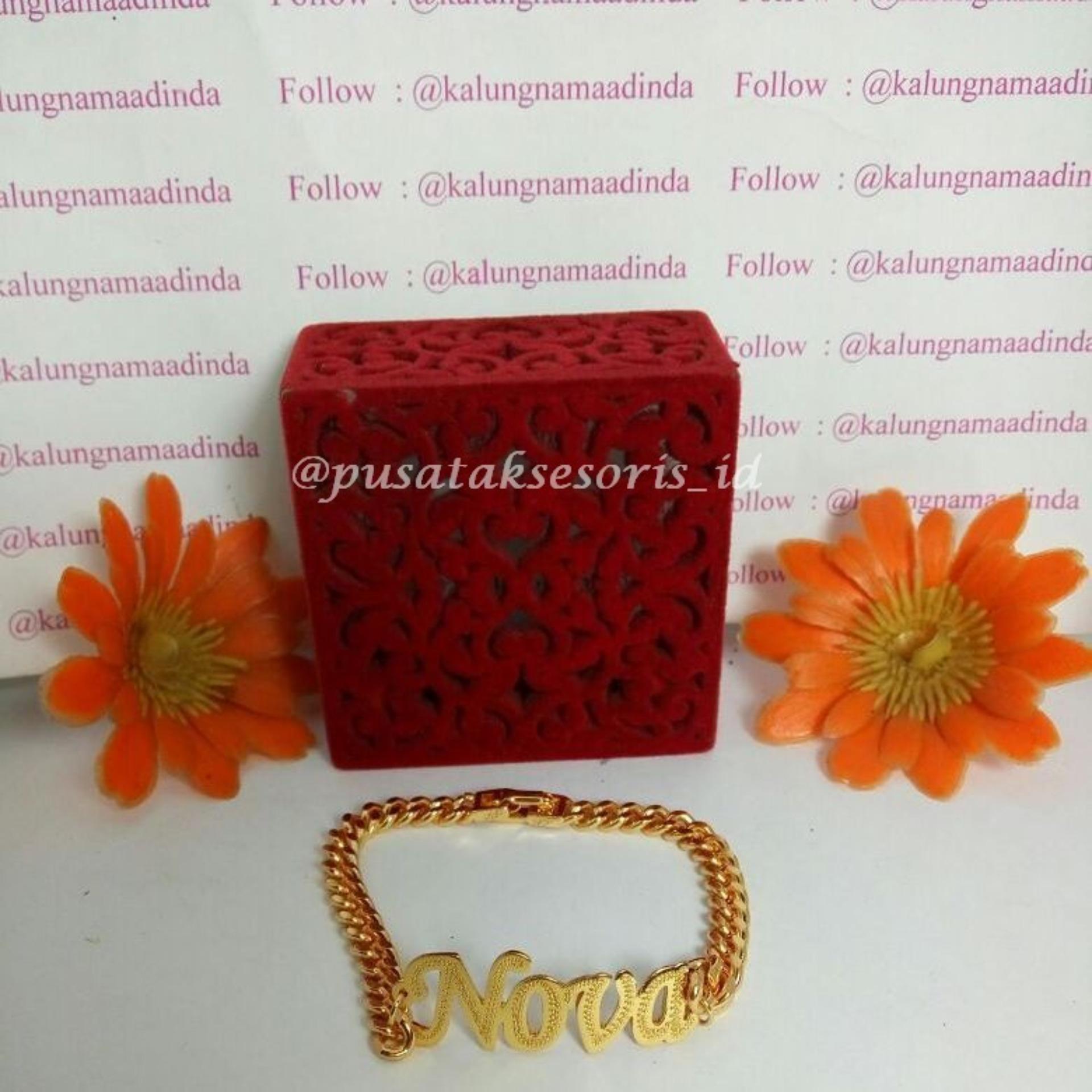 Jual Gelang Nama Gold Lapis Emas 24 Karat Bisa cetak sesuai nama