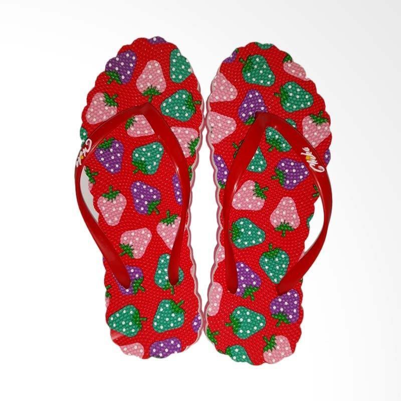 Sandal Chika/ Sandal Jepit Wanita/ Sandal Lucu/ Sandal Flip Flop Brand New Motif Strawberry