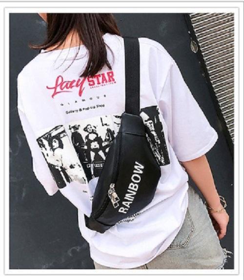 [0930020656] Tas Selempang Dada Waist Bag RAINBOW Fashion Wanita Import - Black