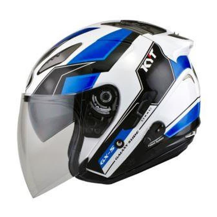 Helm KYT Galaxy Slide Putih Biru Half Face Double Visor