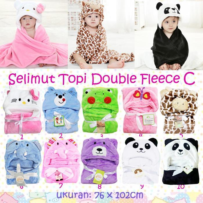 Selimut Topi Double Fleece Selimut Hoodie Bulu Bayi 3D Hoodie Blanket Tudung Selimut Bayi Hoodie Blanket