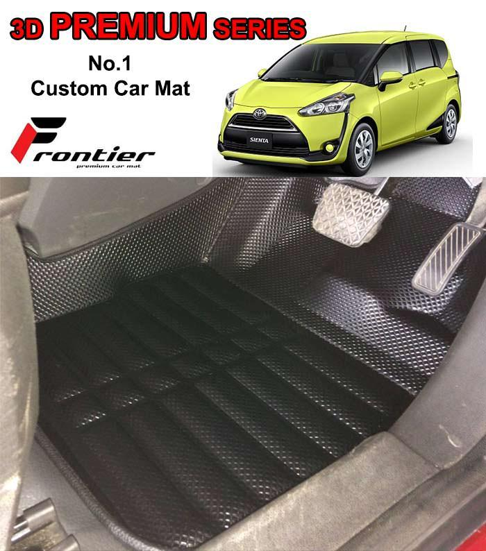 Karpet Mobil 3D Custom TOYOTA SIENTA 3 BARIS PREMIUM BLACK FRONTIER