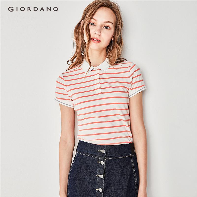 Giordano Women Contrast color polo 91318309