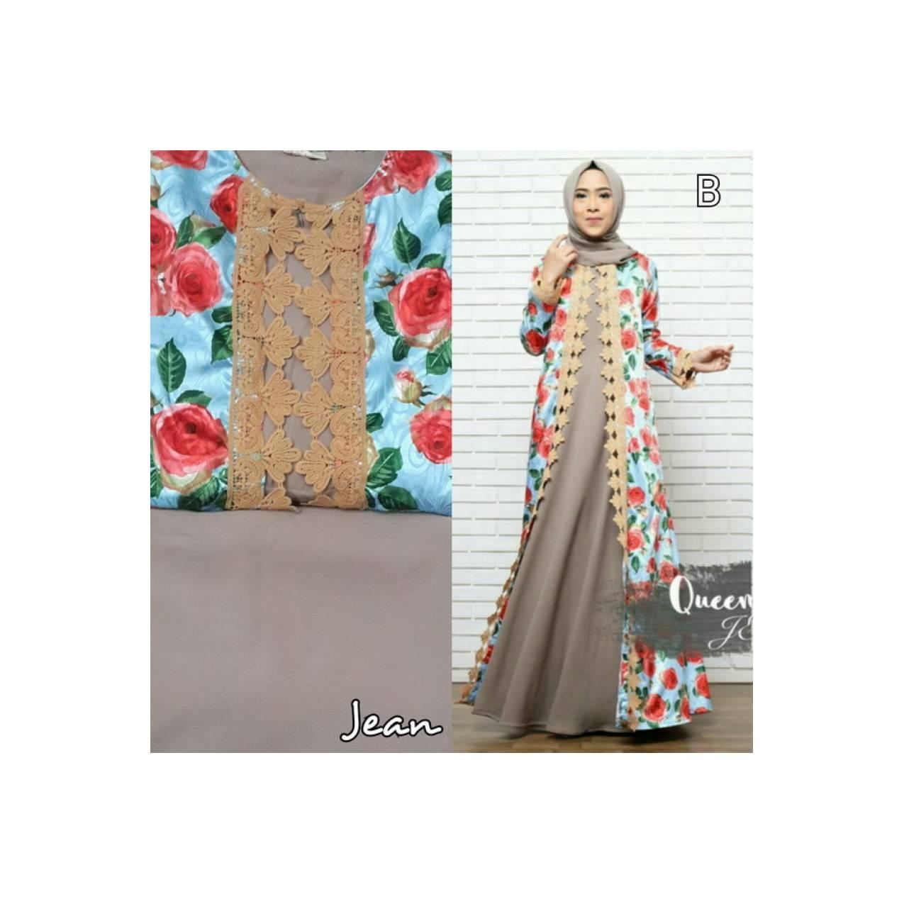 Gamis Casual Ity crepe mix satin aplikasi bordir