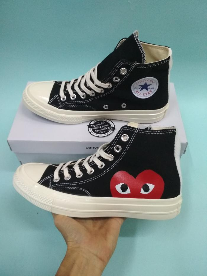 HARGA PROMO!!! Converse X Play Cdg Black White Red Bnib Mirror High Quality