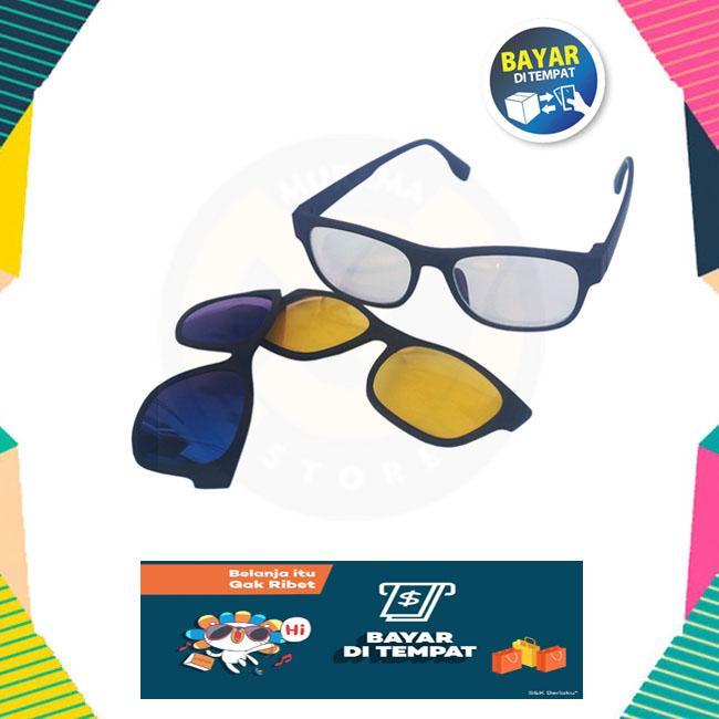Kacamata Ask Vision Magnetic Frame Dengan 3 Lensa Polarized+Amber+Clear Lense Anti Silau
