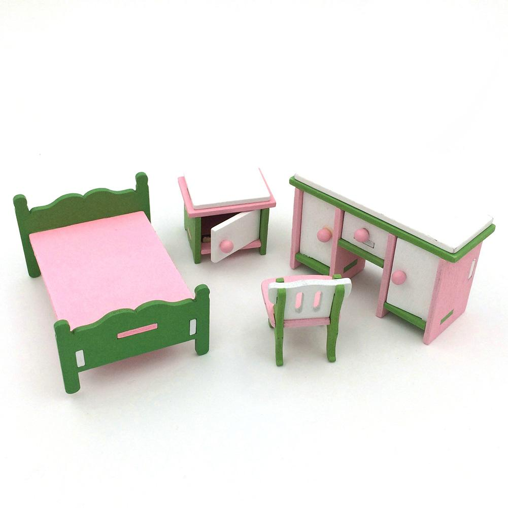 LumiParty Creative Wooden Simulation Furniture 3D Assembly Puzzle Set Building Construction Blocks Jigsaw Puzzle Toys Style:Bedroom