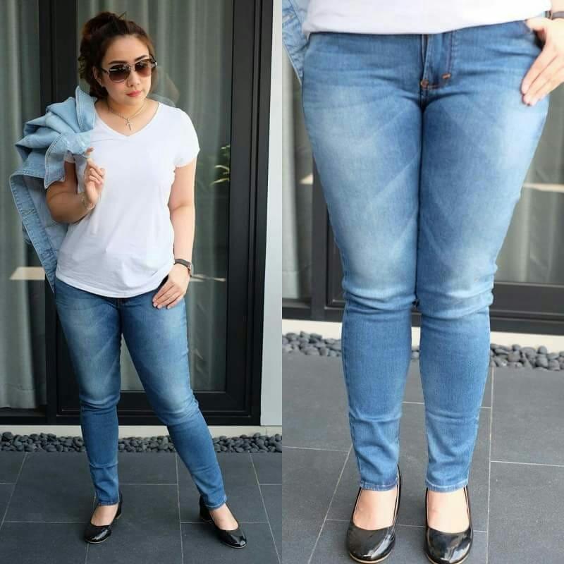 Hilda Whisker Bigsize PROMO TERMURAH!! Celana panjang jeans Ripped skinny Jumbo wanita Murah
