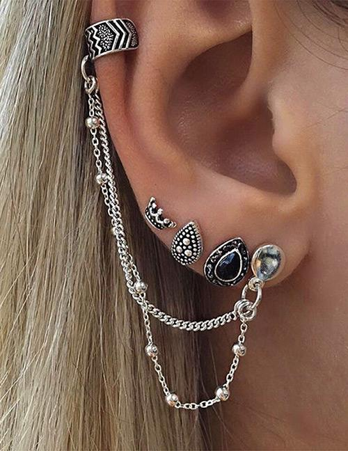 LRC Anting Set Fashion Silver Color Waterdrop Shape Decorated Earrings Sets