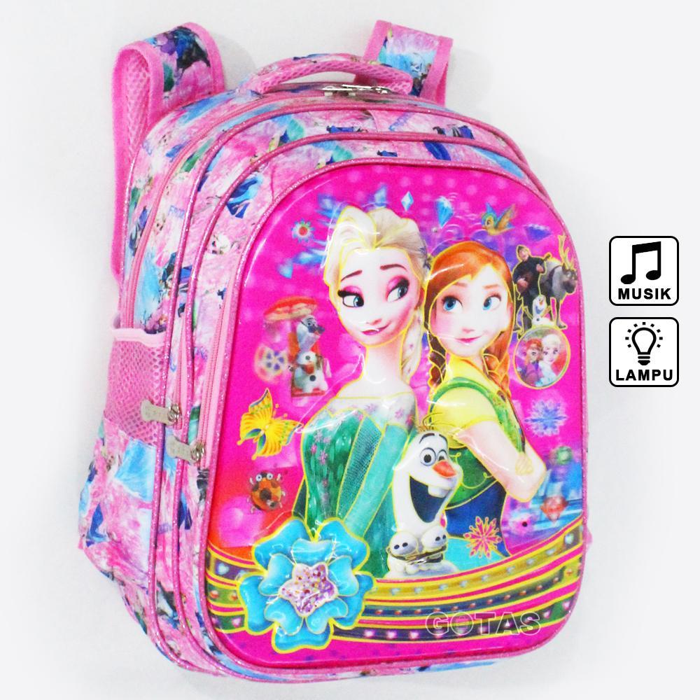 Tas Ransel Sekolah Anak SD Frozen 7D Timbul 16 In Lampu Music Pink Full Motif 3