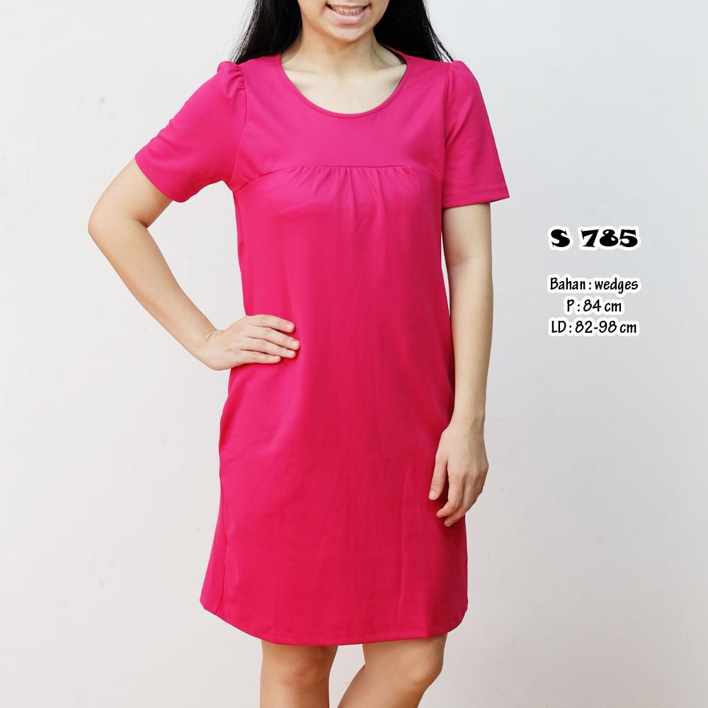 Dress pink wedges polos ( S 785 )