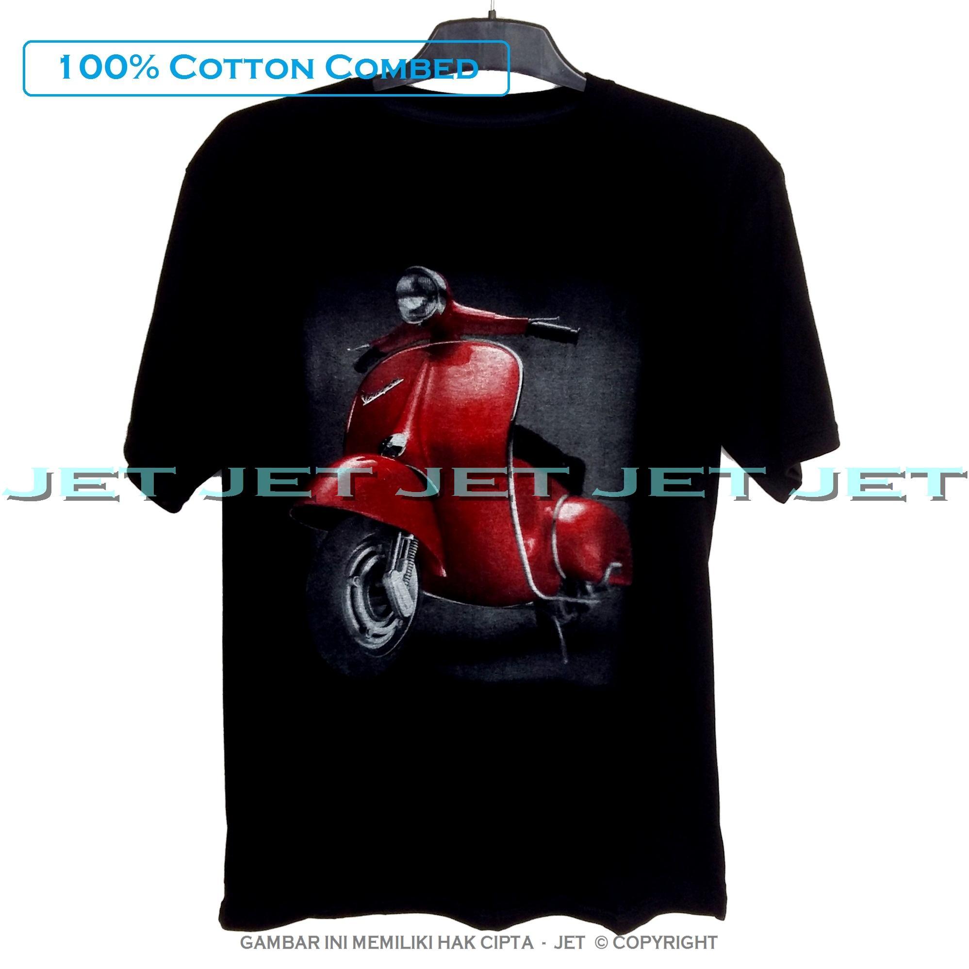 JeT - Black T-Shirt Premium Cotton Combed Motor Vespa Merah