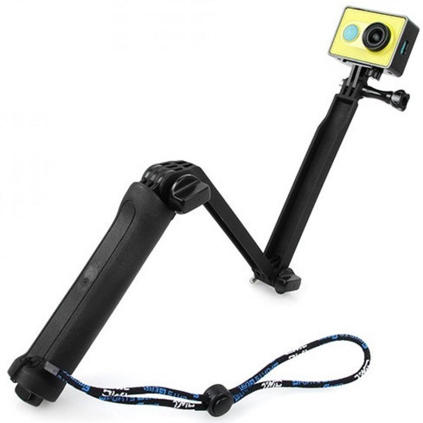 TMC 3 Way Foldable Extension Tripod for Xiaomi Yi / GoPro HR289 Tongsis Tomsis Tongkat Narsis Stick Selfie Wifie 3 Way Rotating Arm Bisa Dilipat Aksesoris Kamera Aksi Action Camera Perlengkapan Audio Video Vlog s0928  - Black