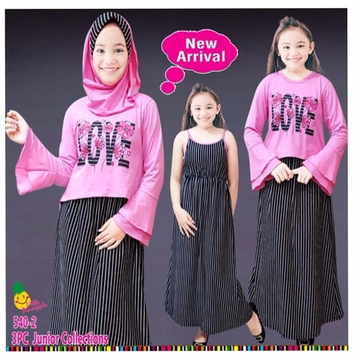 little pineapple 3in1 Setelan Hijab dress Love Strip 6-11Y