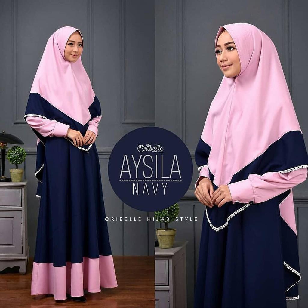 Termurah Aysila syari /Gamis /Syari/Baju Murah/pakaian/muslim gamis/gamis balotelli/gamis syari (Black)