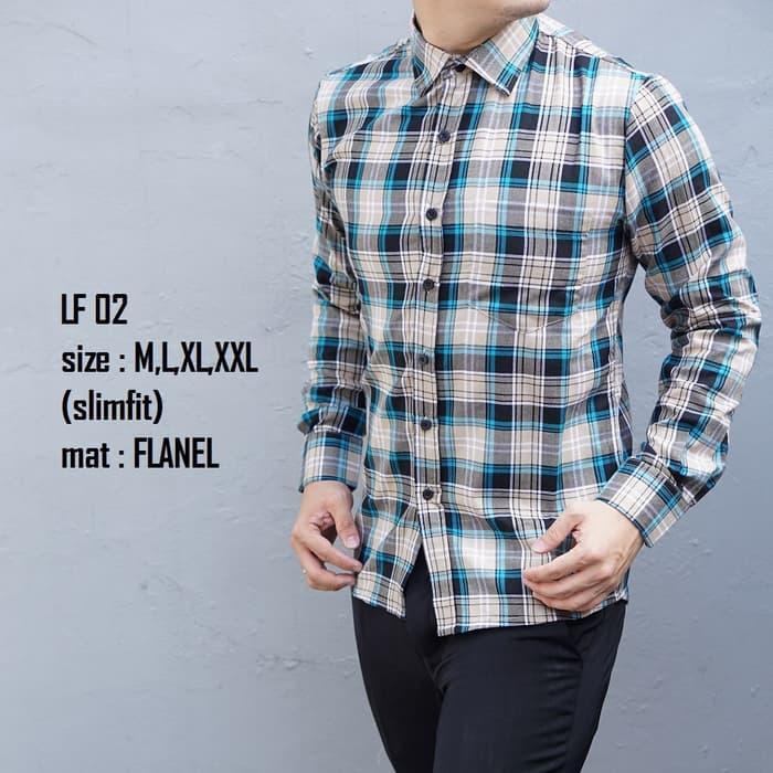 Kemeja Flanel Pria Modern Slim Fit Lengan Panjang LF02 - A3hWY5