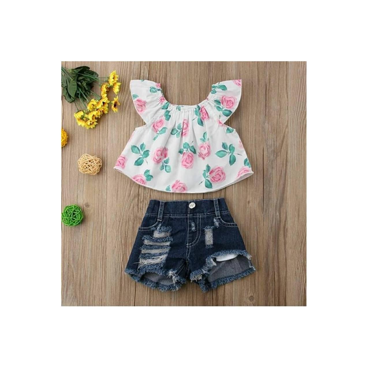 Setelan 2in1 baby girl sabrina flower celana jeans import