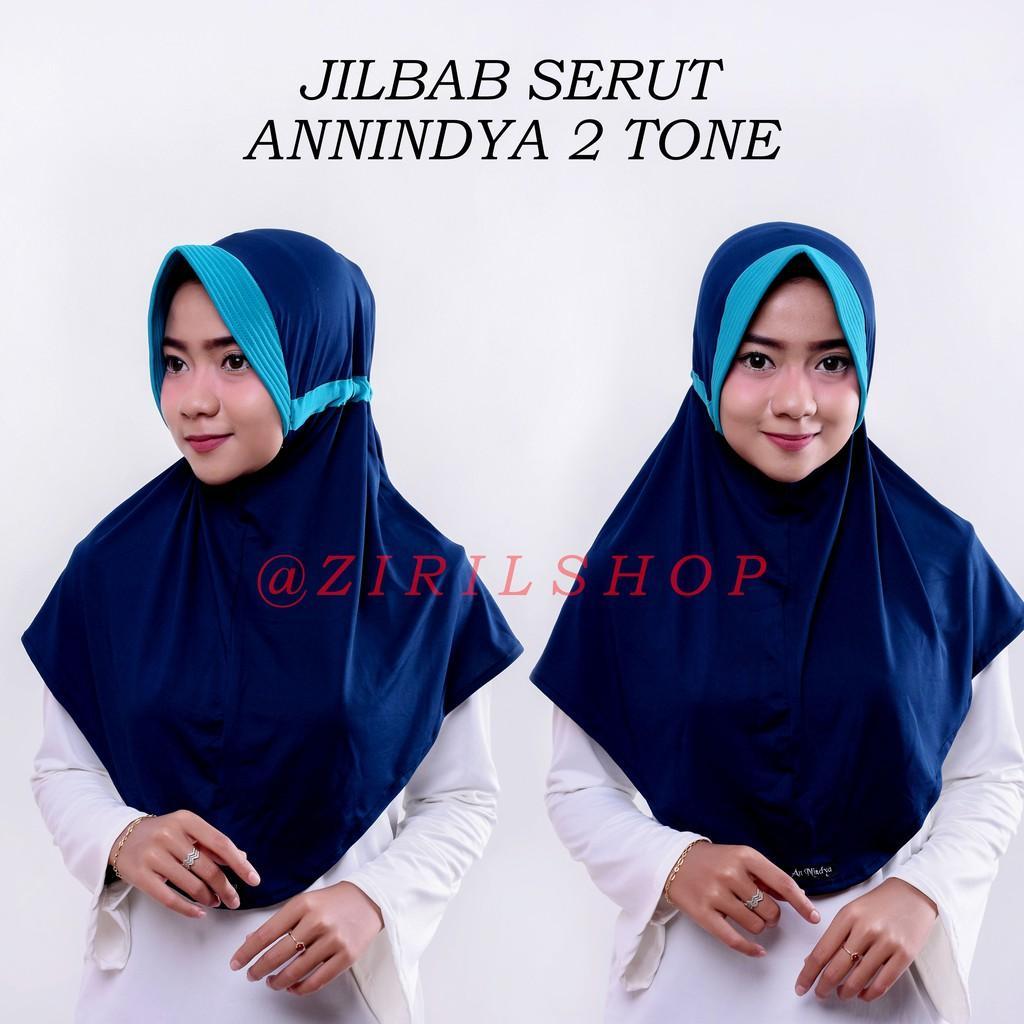 Jilbab Serut ANNINDYA KOMBINASI 2 TONE bhn JERSEY Zoya 2tone two tone 2 warna hijab daily instan (MUSTARD-COKSU)