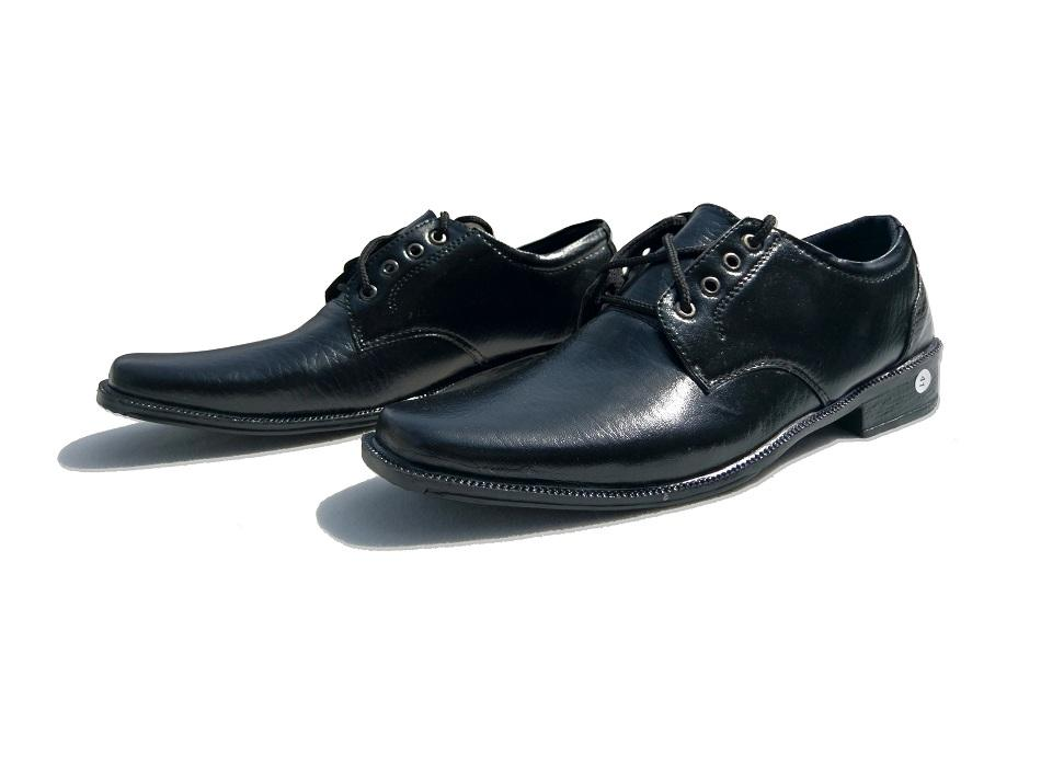 Akas Sepatu Kerja Pria Kantor Pantofel Kulit Sintetis Model Tali - Black
