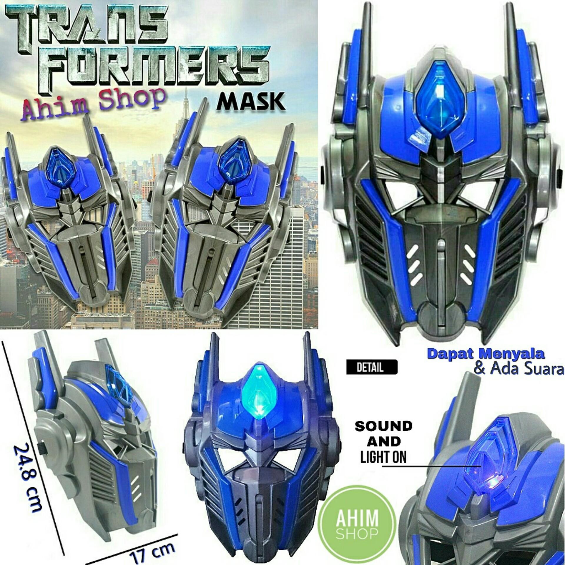 AHIM Topeng Transformers Robot Optimus Prime Sound And Light Superhero LED Mask