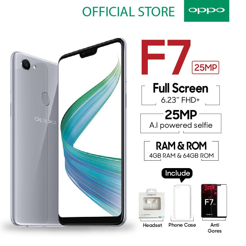 OPPO F7 4GB/64GB Silver - 25 MP Ai Camera (Garansi Resmi Oppo Indonesia, Gratis Ongkir)