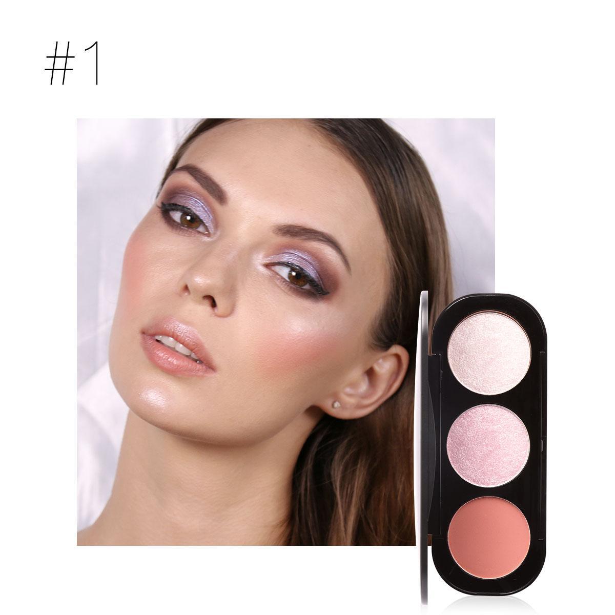 FOCALLURE 3 Color Blush Highlighter Bronzer Palette Contour Shadow Powder Face Makeup Powder #1 - intl