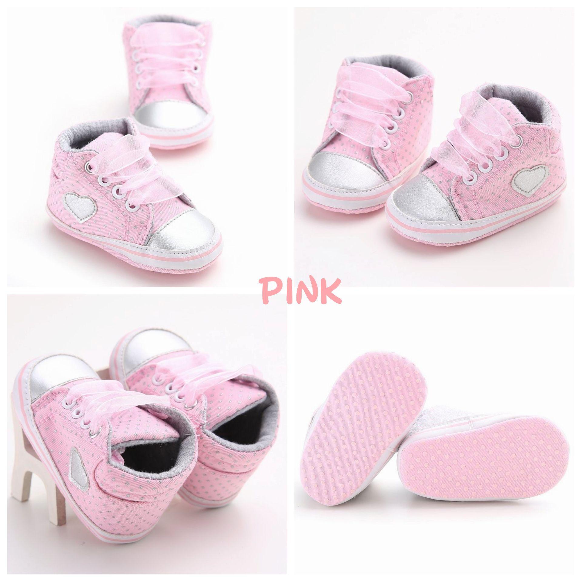 Sepatu Prewalker Sneakers Bayi Anak Perempuan Anti Slip (PINK)