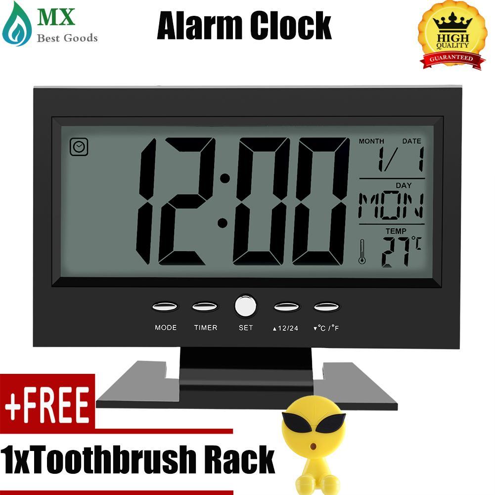 [Membeli 1 Mendapatkan 1 Hadiah] LCD Digital Sensor Suara Meja Jam Alarm Meja dengan Kalender dan Tampilan Temp Hitam