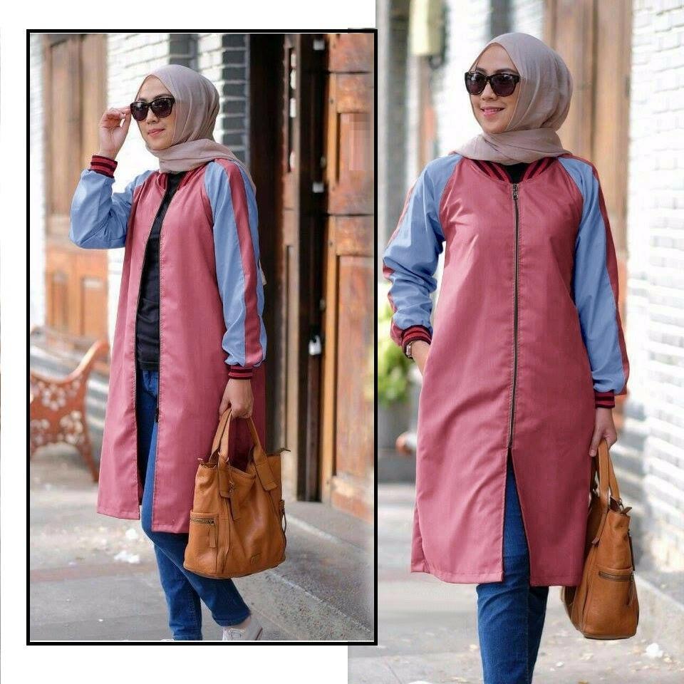 Hoziro - Baju Atasan Outwear Wanita Muslimah Aliyah Bahan Denim Chambrey