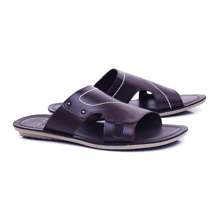 Sandal laki-laki/sandal pria sandal kulit premium Sandal Pria Casual Formal Sandal Slop Cowok keluaran terbaru model terbaru kualitas bagus harga murah warna hitam