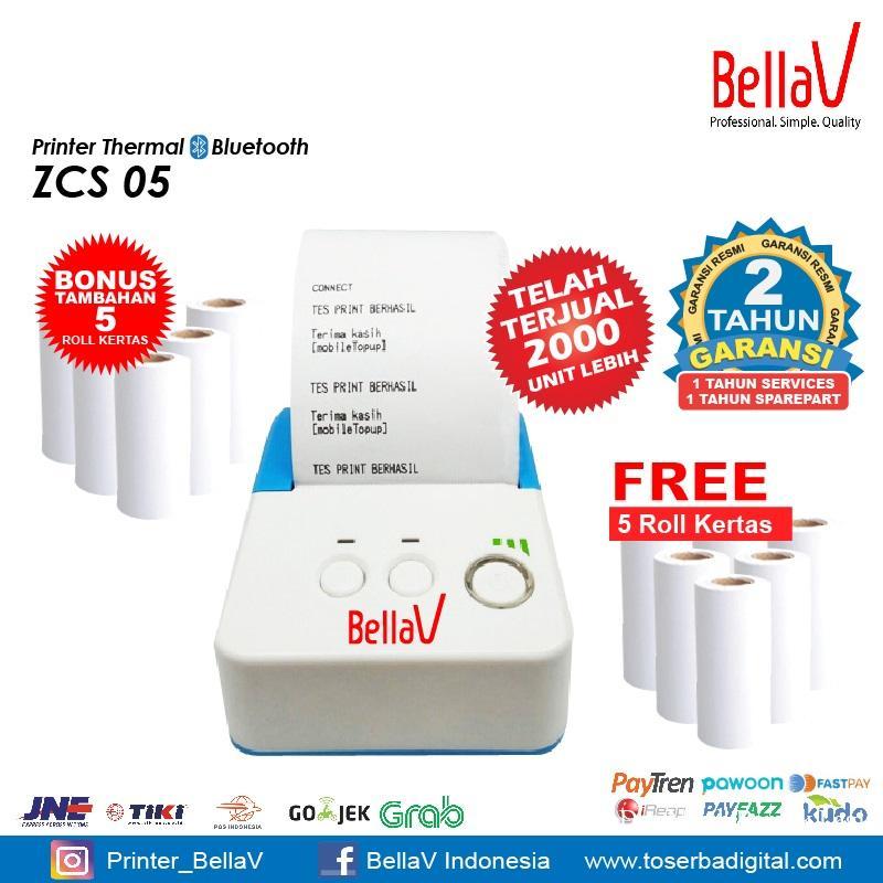 Printer Thermal Bluetooth Bellav ZCS 05 Plus Kertas 5 Roll Kertas