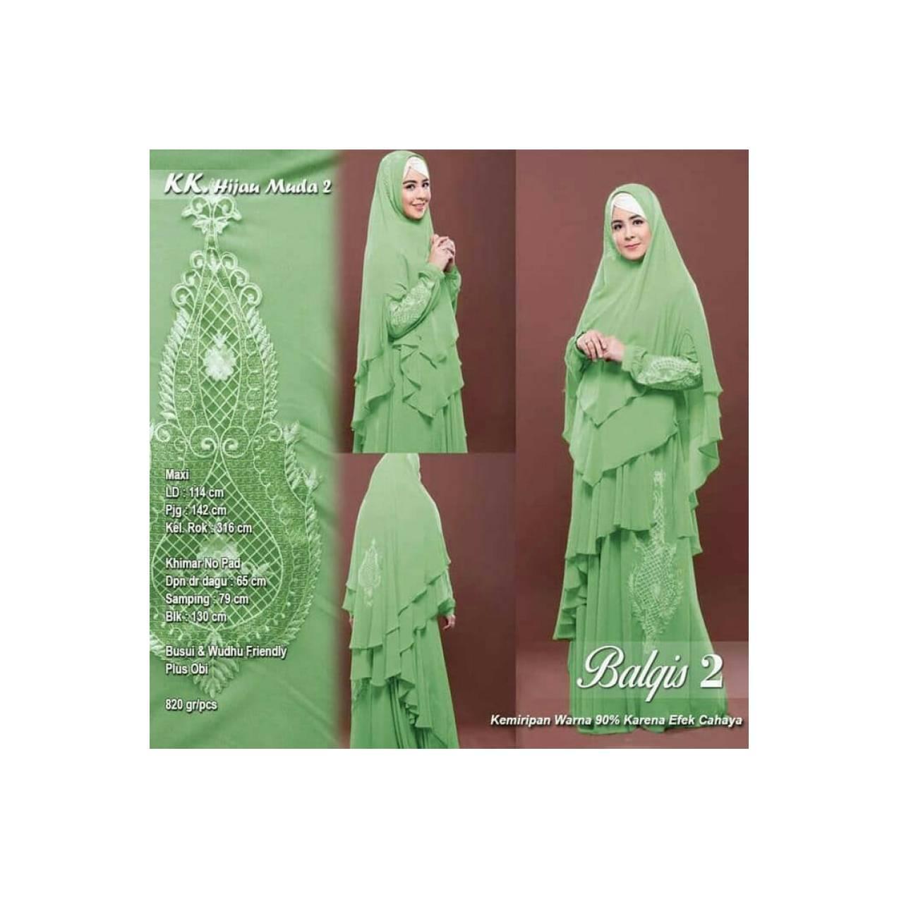 Promo GAMIS/DRESS JUMBO SYARI BORDIR BALQIS HIJAU MUDA Termurah 1.2959