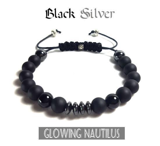 Promo Big Sale Perhiasan Aksesoris Gelang Kesehatan Batu Asli Cowok Cewek Shambala Black Silver By Natural Gemshop.