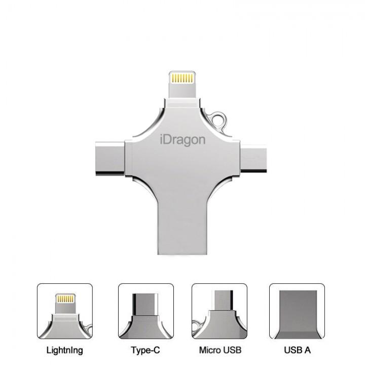 32Gb 4 In 1 Flash Drive Metal Micro USB Fat32 Exfat Murah