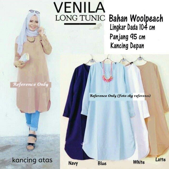Baju Atasan Venila Long Tunik Blouse Blus Muslim / baju / baju wanita / baju atasan wanita / baju motif / baju murah / baju keren / baju lucu / baju berkualitas