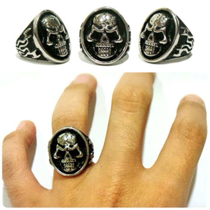 NEW PROMO ringskull titanium cincin tengkorak lady rocker lady biker lady ring