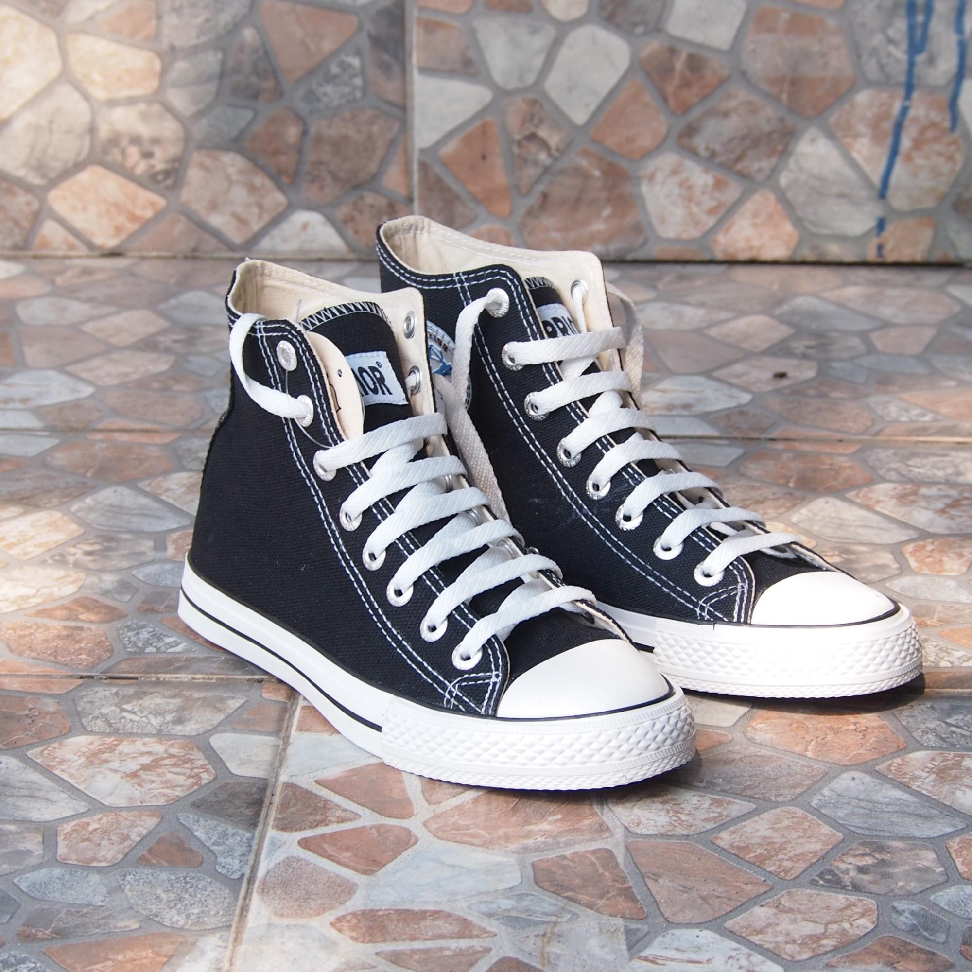 Sepatu Kets Sepatu Sekolah Cewek Cowok Warrior High SPARTAHC Black