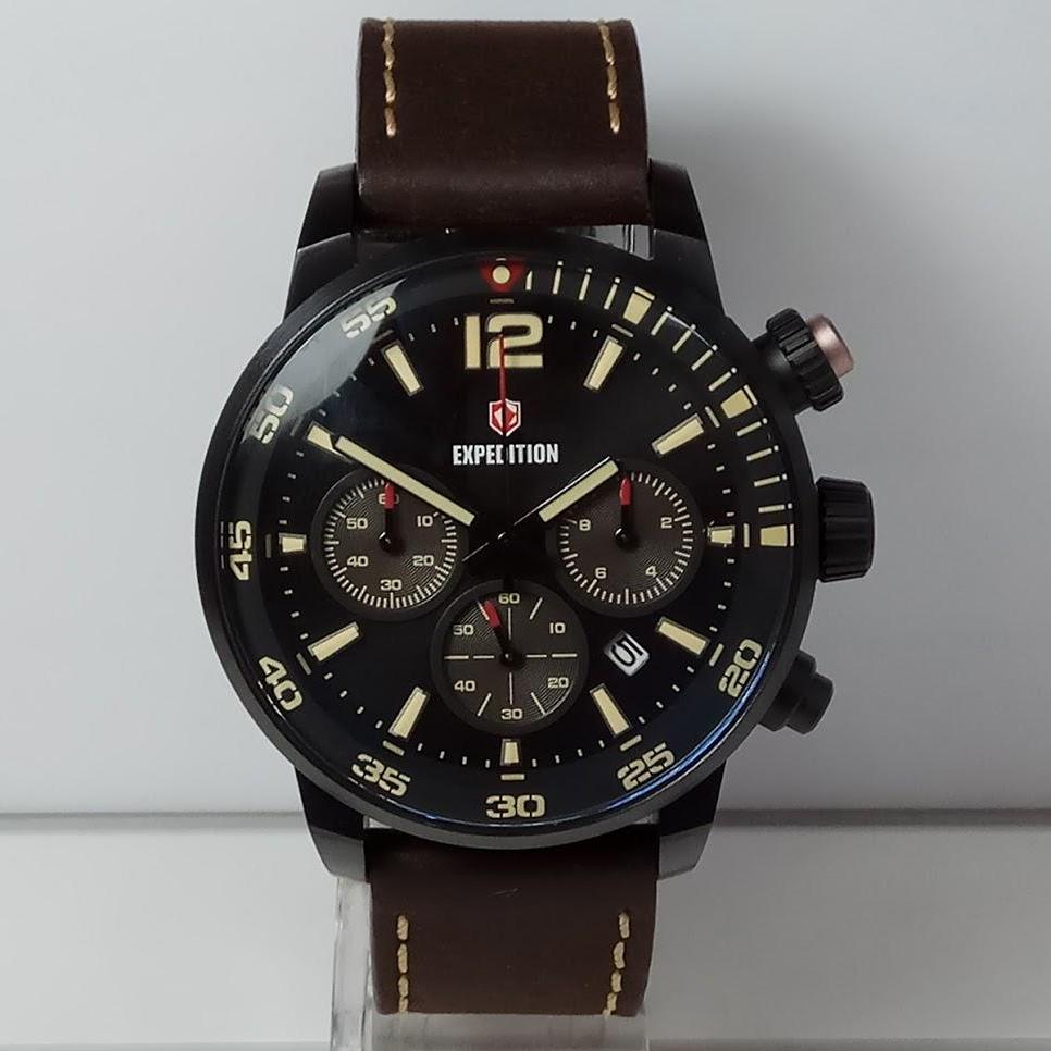 Expedition Jam Tangan Pria E6685MC Chronograph Black Stainless Steel Leather Brown