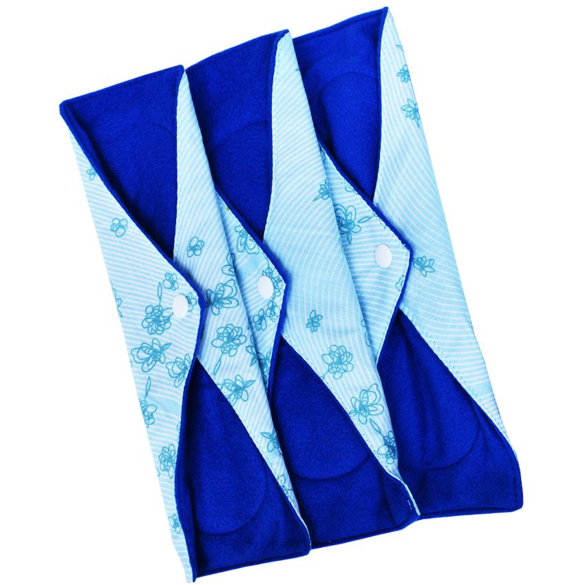 Faaza Store Menspad 3 Pcs DAY 26cm MenstrualPad / Pembalut Kain Cuci Ulang Wanita-Motif light blue flowers