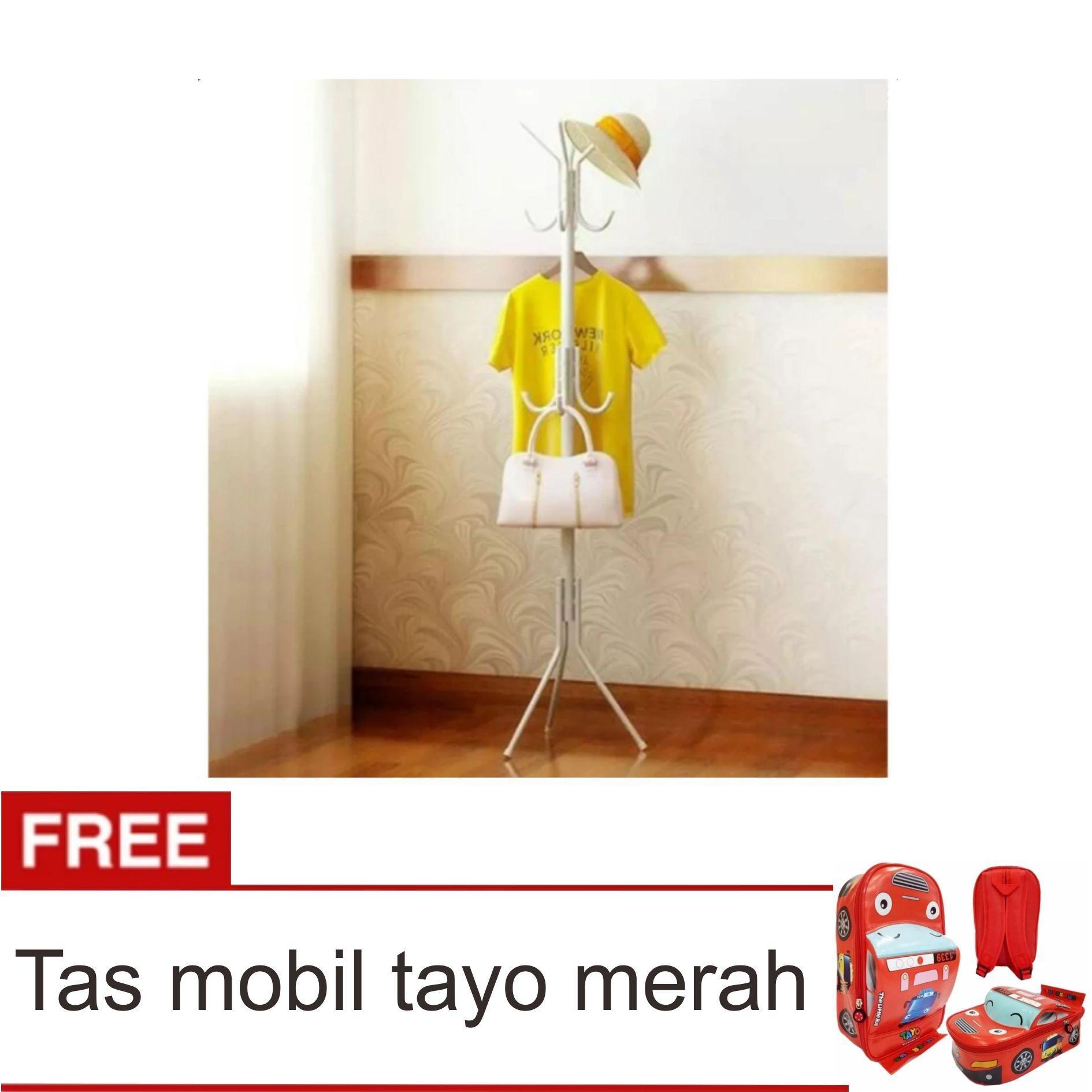 standing hanger Lanjarjaya Gantungan Baju Standing Hanger / Multifunction Stand Hanger - Putih + Tas Tayo