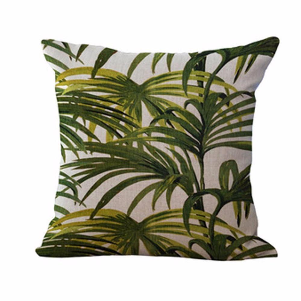 Fancyqube Green plant pillow cushions Cushion Tropic Tree Green Throw Pillow Bird Decorative Pillows Flower for Sofa H04