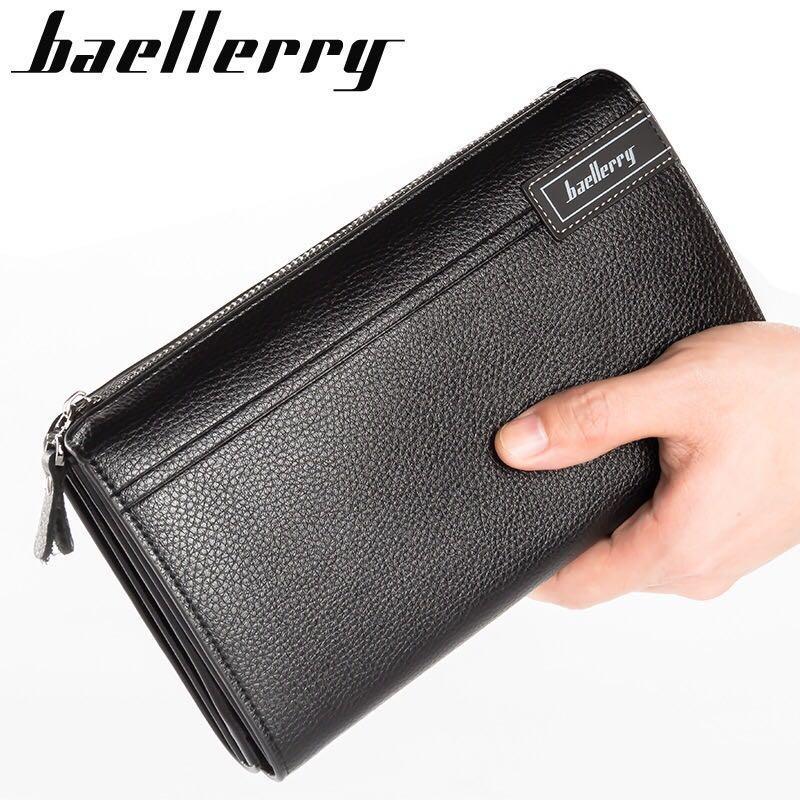 Baellerry S1001 Dompet Lipat Kulit Panjang Pria Besar Bisnis Kartu Kredit HP Premium Clutch Wallet