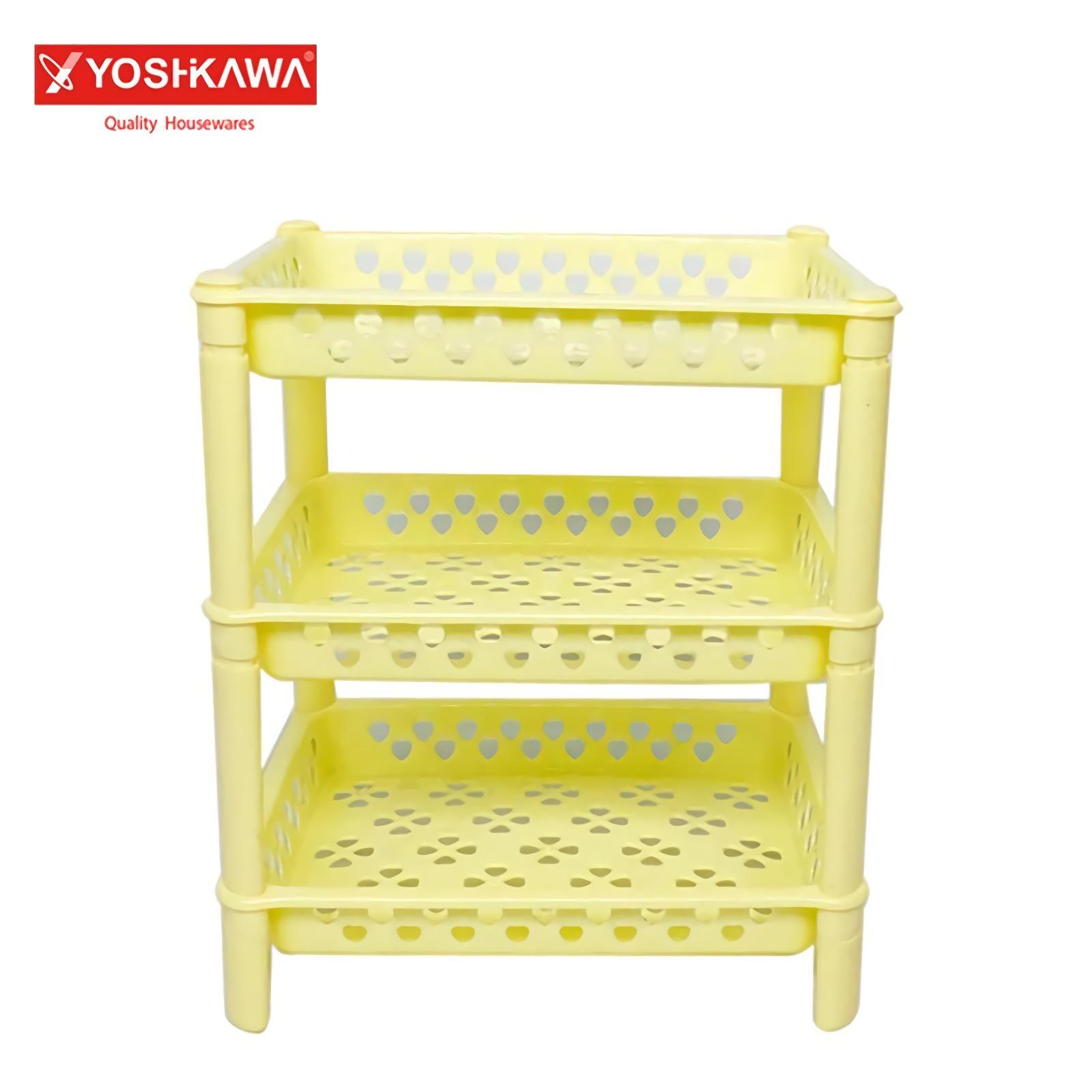 Yoshikawa Rak Susun Serbaguna 3 Tingkat Plastik Multifungsi Organizer Dapur Rumah Evl-R-0130-3 By Good Spot.